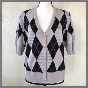 St. John Black Beige Wool Blend Sweater Cardigan
